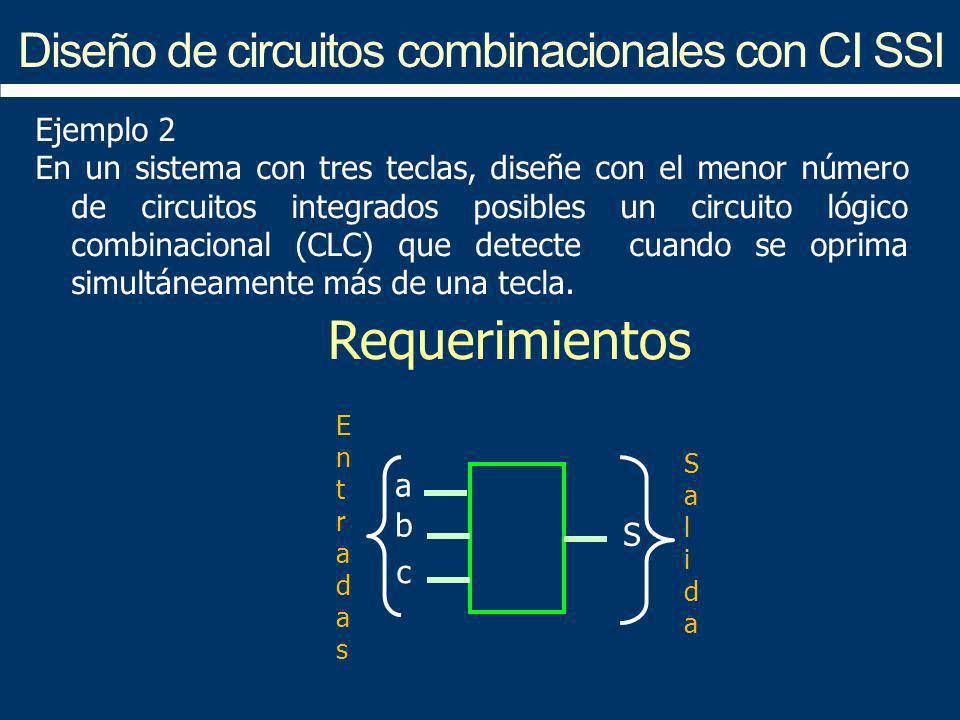 Diseño de circuitos combinacionales con CI SSI a b c S EntradasEntradas SalidaSalida Requerimientos Ejemplo 2 En un sistema con tres teclas, diseñe co