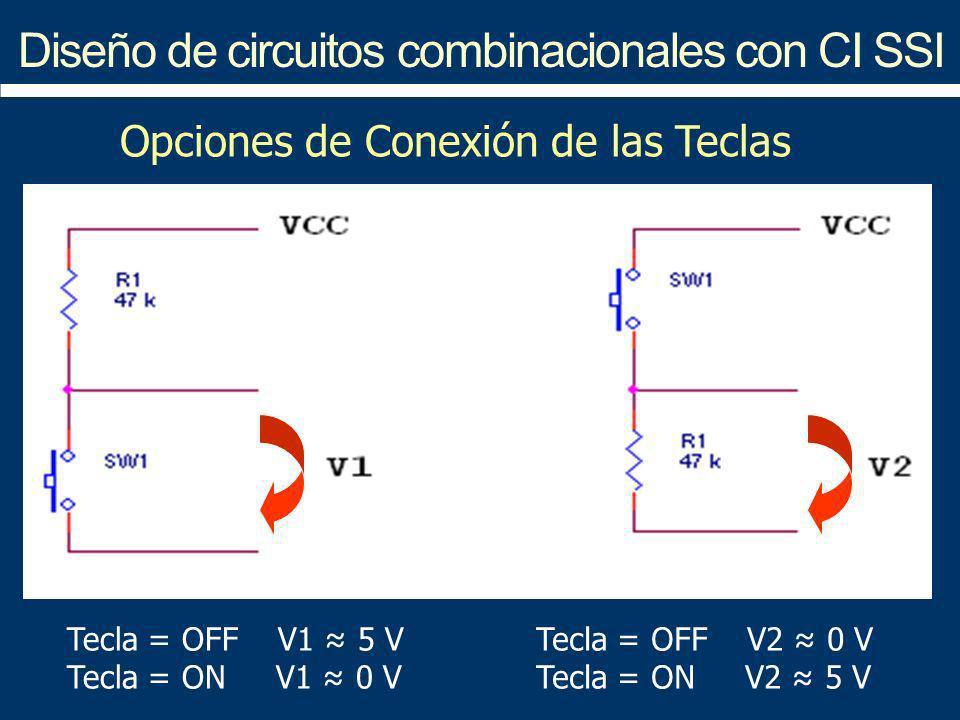 Diseño de circuitos combinacionales con CI SSI Tecla = OFF V1 5 V Tecla = ON V1 0 V Tecla = OFF V2 0 V Tecla = ON V2 5 V Opciones de Conexión de las T