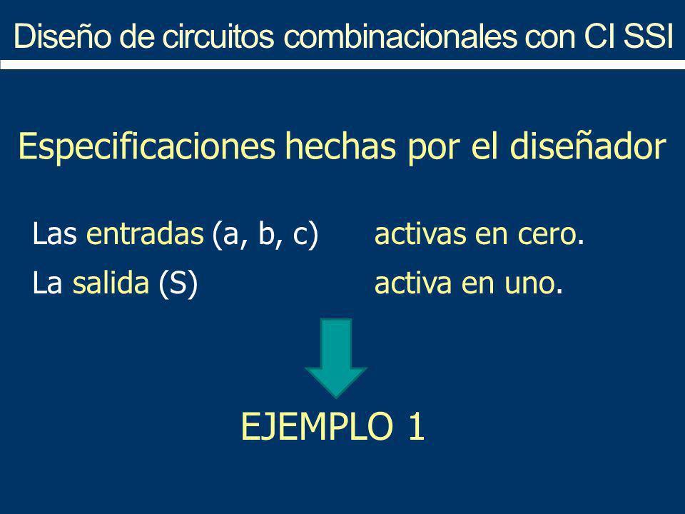 Diseño de circuitos combinacionales con CI SSI Especificaciones hechas por el diseñador Las entradas (a, b, c) activas en cero. La salida (S) activa e