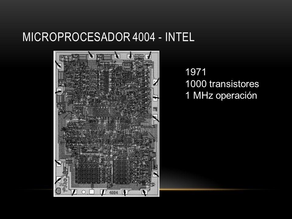 MICROPROCESADOR 4004 - INTEL 1971 1000 transistores 1 MHz operación