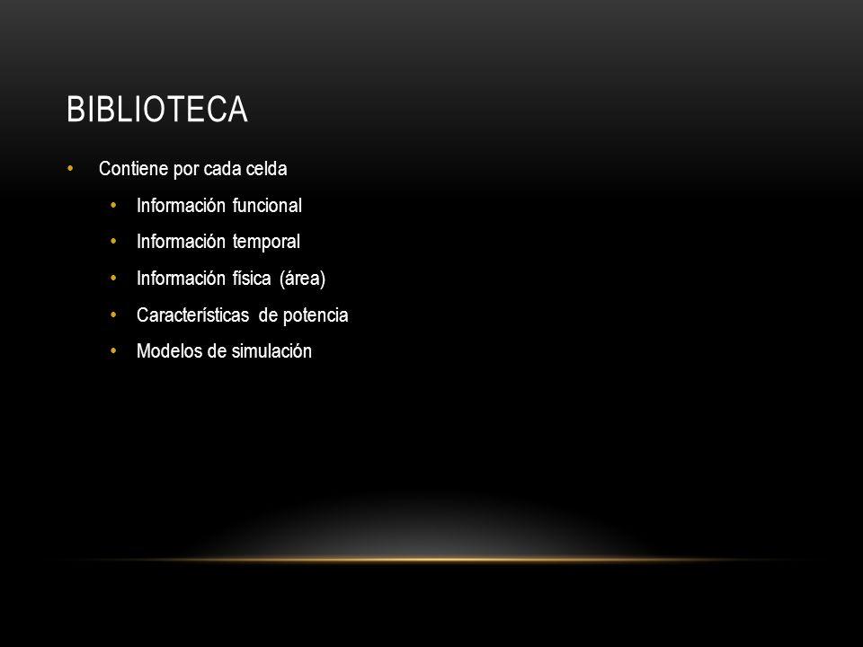 BIBLIOTECA Contiene por cada celda Información funcional Información temporal Información física (área) Características de potencia Modelos de simulac