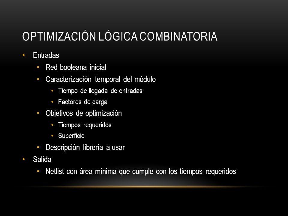 OPTIMIZACIÓN LÓGICA COMBINATORIA Entradas Red booleana inicial Caracterización temporal del módulo Tiempo de llegada de entradas Factores de carga Obj