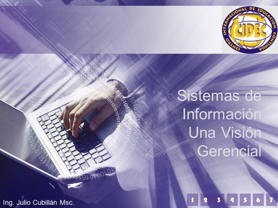 Sistemas de Información Una Visión Gerencial Ing. Julio Cubillán Msc. 1234567