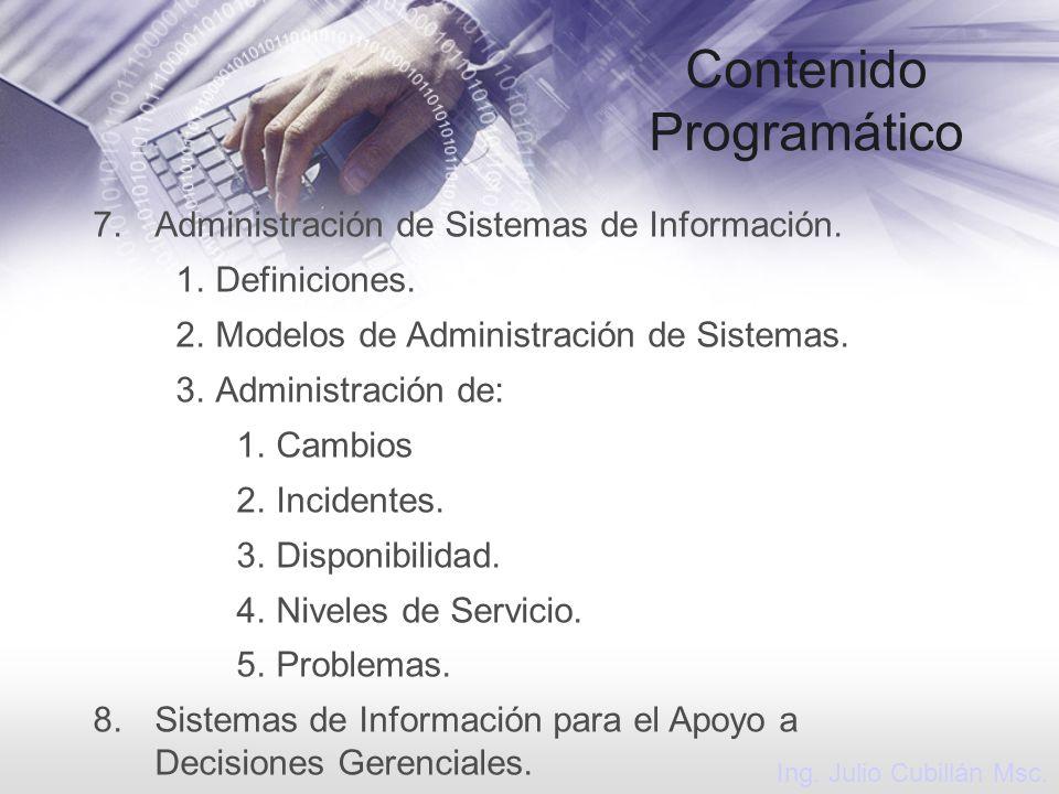 Contenido Programático 7.Administración de Sistemas de Información. 1.Definiciones. 2.Modelos de Administración de Sistemas. 3.Administración de: 1.Ca
