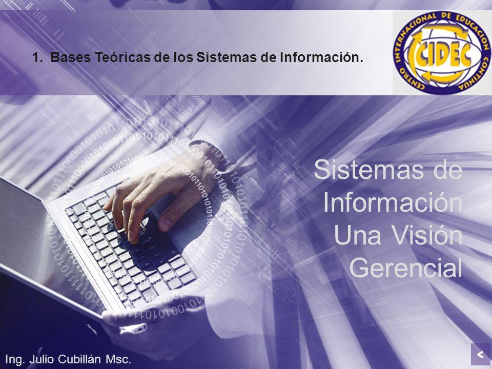 Sistemas de Información Una Visión Gerencial Ing. Julio Cubillán Msc. 1.Bases Teóricas de los Sistemas de Información. <