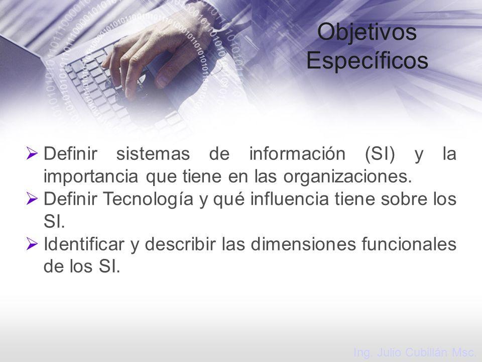Objetivos Específicos Definir sistemas de información (SI) y la importancia que tiene en las organizaciones. Definir Tecnología y qué influencia tiene