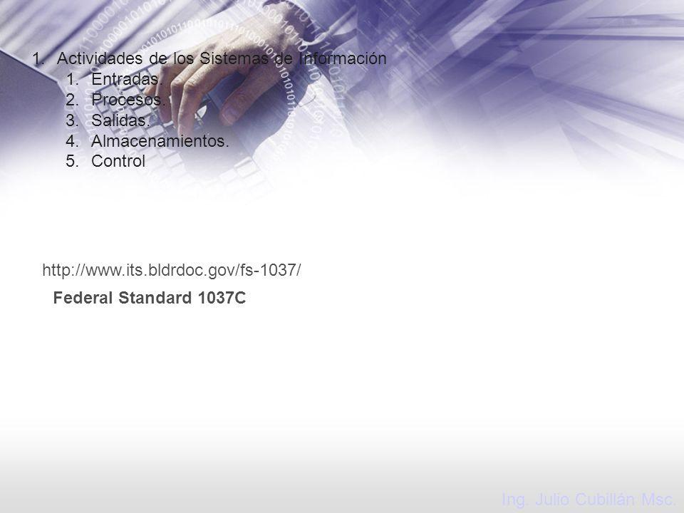 Ing. Julio Cubillán Msc. 1.Actividades de los Sistemas de Información 1.Entradas. 2.Procesos. 3.Salidas. 4.Almacenamientos. 5.Control http://www.its.b