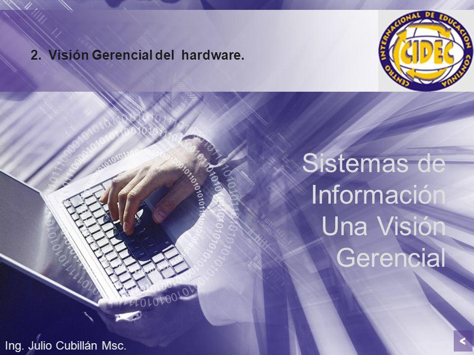 Sistemas de Información Una Visión Gerencial Ing. Julio Cubillán Msc. 2.Visión Gerencial del hardware. <