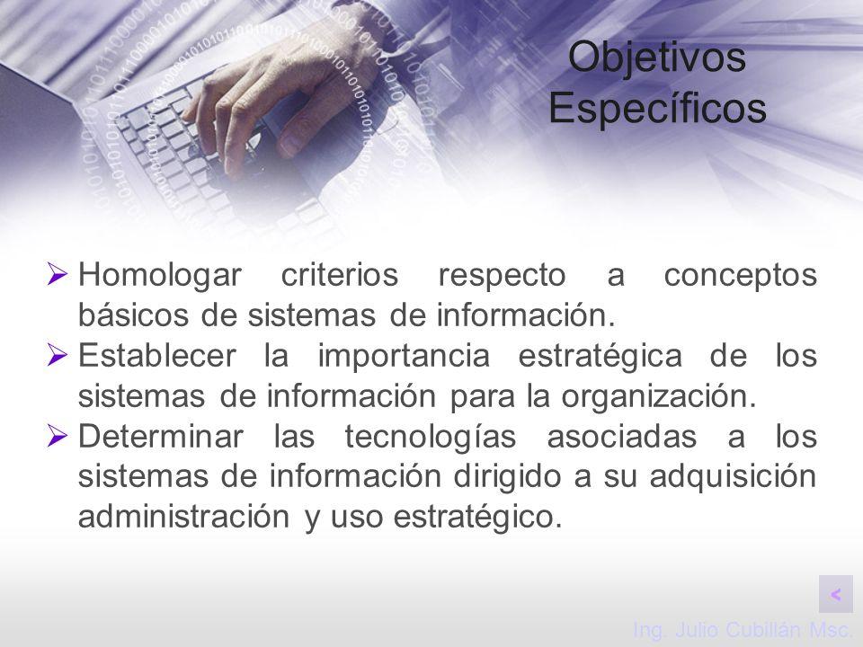 Objetivos Específicos Homologar criterios respecto a conceptos básicos de sistemas de información. Establecer la importancia estratégica de los sistem