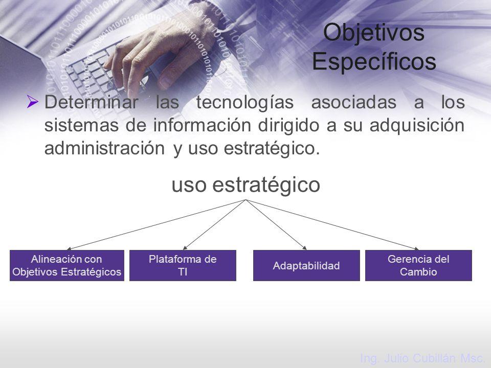 Objetivos Específicos Determinar las tecnologías asociadas a los sistemas de información dirigido a su adquisición administración y uso estratégico. A
