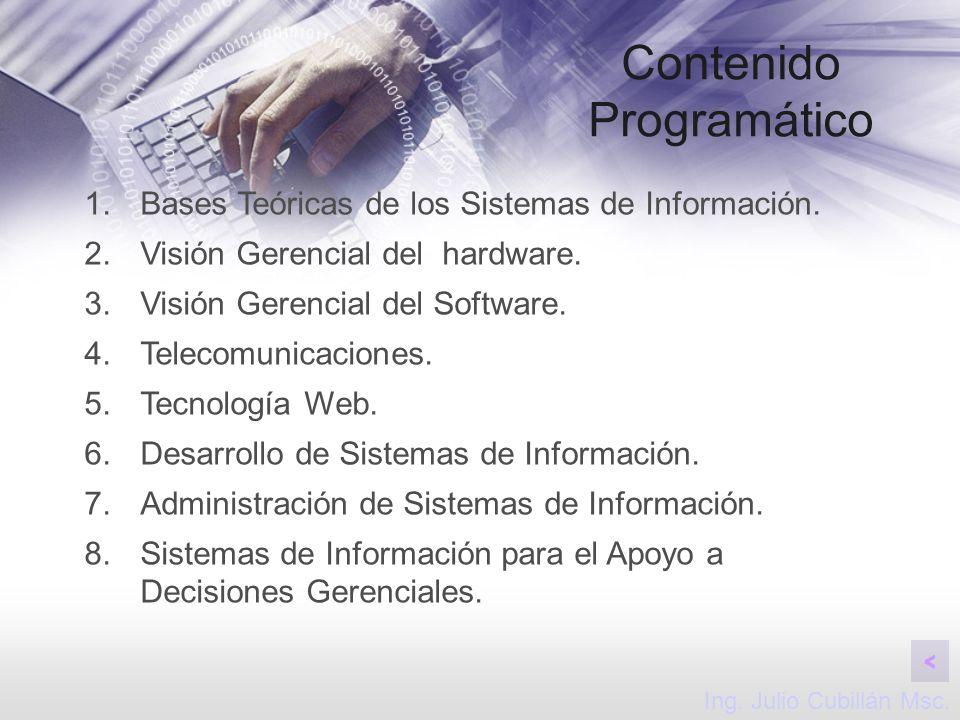Contenido Programático 1.Bases Teóricas de los Sistemas de Información. 2.Visión Gerencial del hardware. 3.Visión Gerencial del Software. 4.Telecomuni