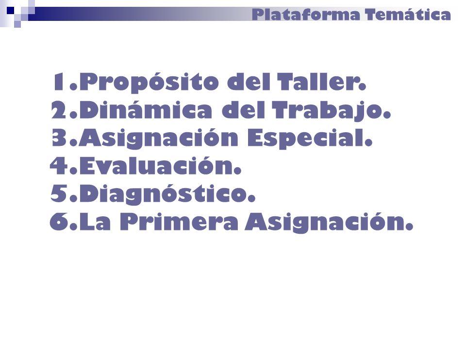 Plataforma Temática 1.Propósito del Taller. 2.Dinámica del Trabajo. 3.Asignación Especial. 4.Evaluación. 5.Diagnóstico. 6.La Primera Asignación.
