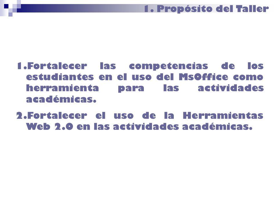 1. Propósito del Taller 1.Fortalecer las competencias de los estudiantes en el uso del MsOffice como herramienta para las actividades académicas. 2.Fo