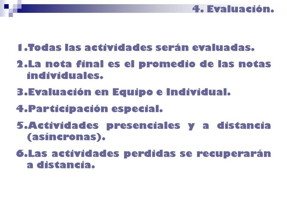 4. Evaluación. 1.Todas las actividades serán evaluadas. 2.La nota final es el promedio de las notas individuales. 3.Evaluación en Equipo e Individual.
