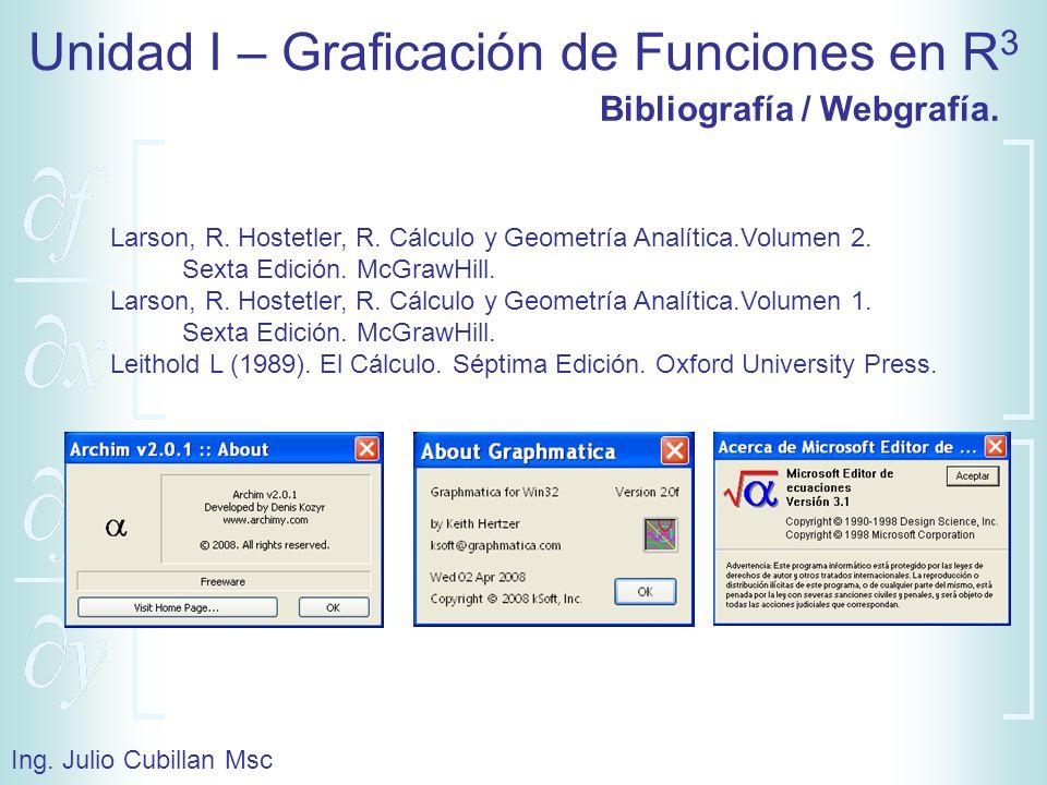 Unidad I – Graficación de Funciones en R 3 Ing. Julio Cubillan Msc Bibliografía / Webgrafía. Larson, R. Hostetler, R. Cálculo y Geometría Analítica.Vo