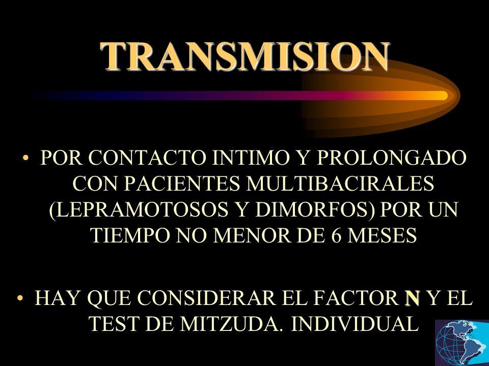 TRANSMISION POR CONTACTO INTIMO Y PROLONGADO CON PACIENTES MULTIBACIRALES (LEPRAMOTOSOS Y DIMORFOS) POR UN TIEMPO NO MENOR DE 6 MESES NHAY QUE CONSIDE