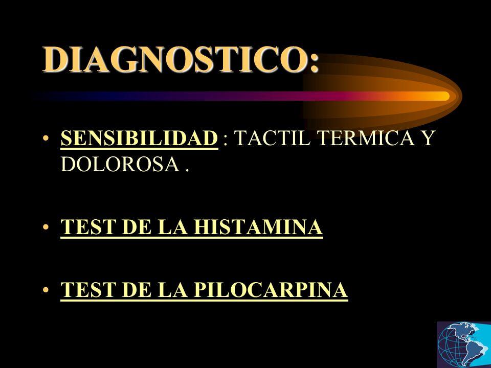 DIAGNOSTICO: SENSIBILIDAD : TACTIL TERMICA Y DOLOROSA. TEST DE LA HISTAMINA TEST DE LA PILOCARPINA