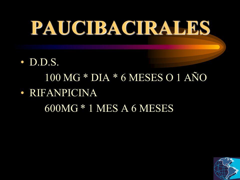 PAUCIBACIRALES D.D.S. 100 MG * DIA * 6 MESES O 1 AÑO RIFANPICINA 600MG * 1 MES A 6 MESES