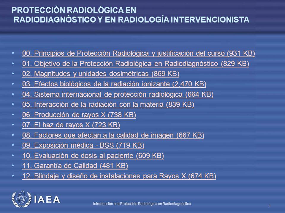 IAEA Introducción a la Protección Radiológica en Radiodiagnóstico 1 PROTECCIÓN RADIOLÓGICA EN RADIODIAGNÓSTICO Y EN RADIOLOGÍA INTERVENCIONISTA 00. Pr