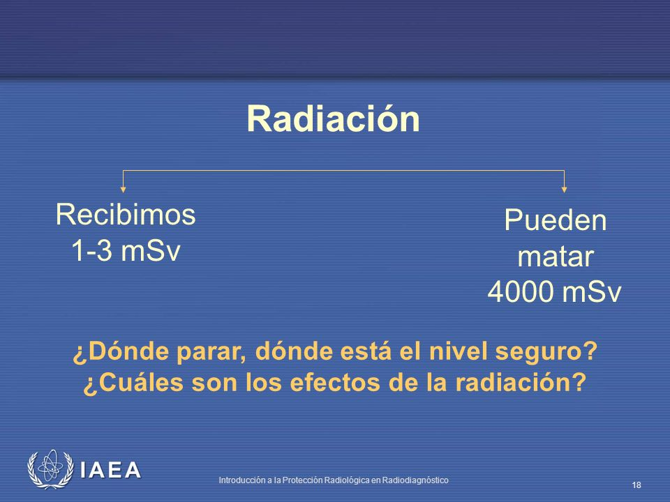 IAEA Introducción a la Protección Radiológica en Radiodiagnóstico 18 Recibimos 1-3 mSv Pueden matar 4000 mSv Radiación ¿Dónde parar, dónde está el niv