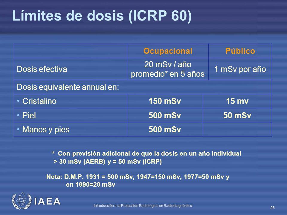 IAEA Introducción a la Protección Radiológica en Radiodiagnóstico 26 Límites de dosis (ICRP 60) * Con previsión adicional de que la dosis en un año in