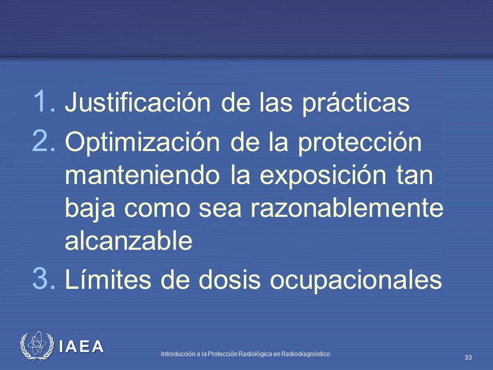 IAEA Introducción a la Protección Radiológica en Radiodiagnóstico 33 1. Justificación de las prácticas 2. Optimización de la protección manteniendo la