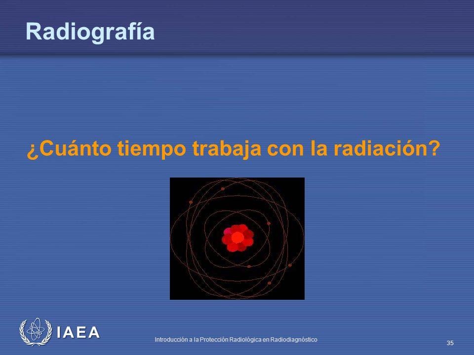 IAEA Introducción a la Protección Radiológica en Radiodiagnóstico 35 ¿Cuánto tiempo trabaja con la radiación? Radiografía