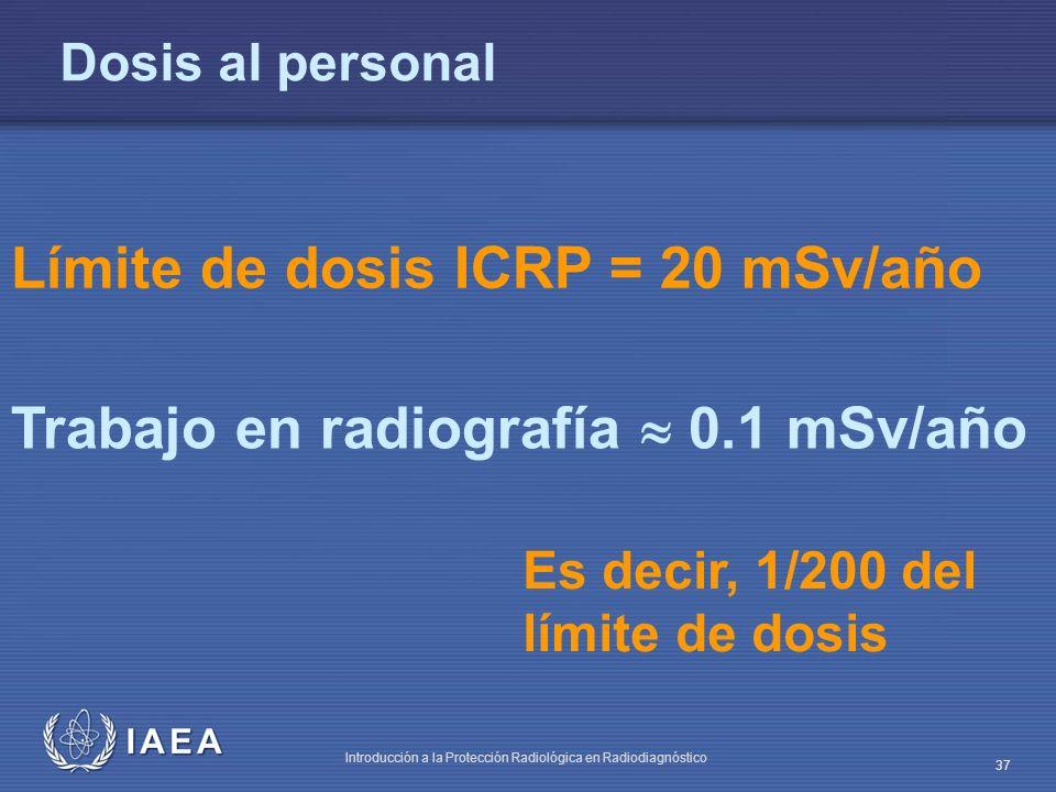 IAEA Introducción a la Protección Radiológica en Radiodiagnóstico 37 Dosis al personal Límite de dosis ICRP = 20 mSv/año Trabajo en radiografía 0.1 mS