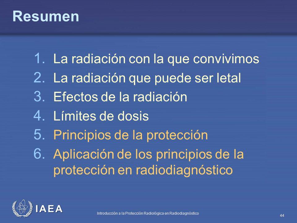 IAEA Introducción a la Protección Radiológica en Radiodiagnóstico 44 Resumen 1. La radiación con la que convivimos 2. La radiación que puede ser letal