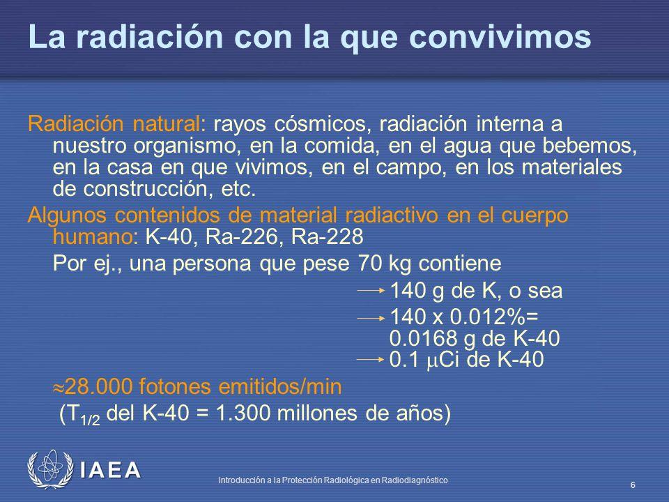 IAEA Introducción a la Protección Radiológica en Radiodiagnóstico 7 Estimación de K-40 en masa corporal no grasa Peso corporal = masa de grasa + masa corporal no grasa El K-40 está directamente relacionado con la masa corporal no grasa Se emplea un contador de radiactividad corporal