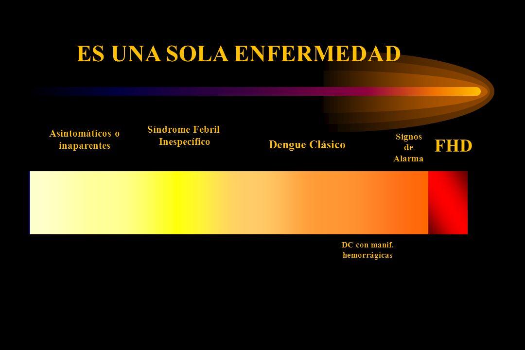 Asintomáticos o inaparentes Síndrome Febril Inespecífico Dengue Clásico FHD DC con manif. hemorrágicas Signos de Alarma ES UNA SOLA ENFERMEDAD
