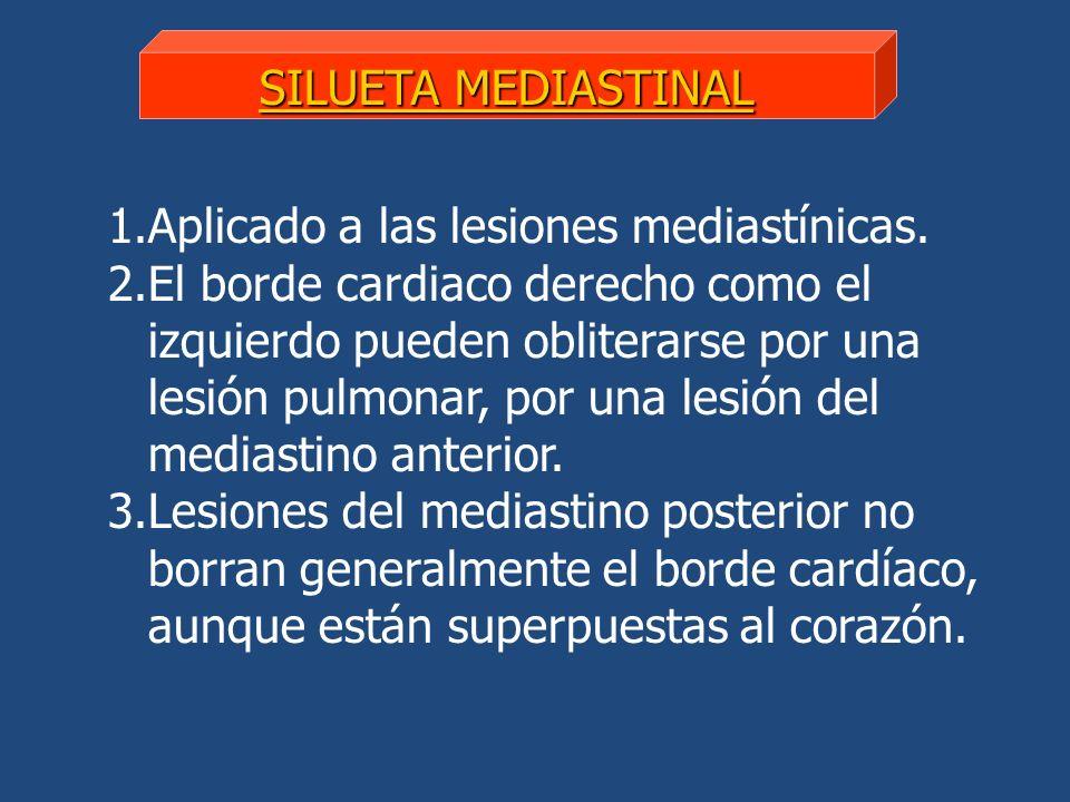 1.Aplicado a las lesiones mediastínicas. 2.El borde cardiaco derecho como el izquierdo pueden obliterarse por una lesión pulmonar, por una lesión del