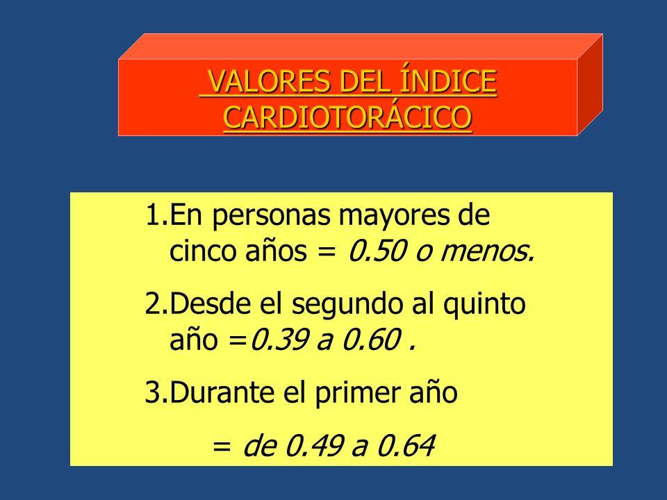 1.En personas mayores de cinco años = 0.50 o menos. 2.Desde el segundo al quinto año =0.39 a 0.60. 3.Durante el primer año = de 0.49 a 0.64 VALORES DE