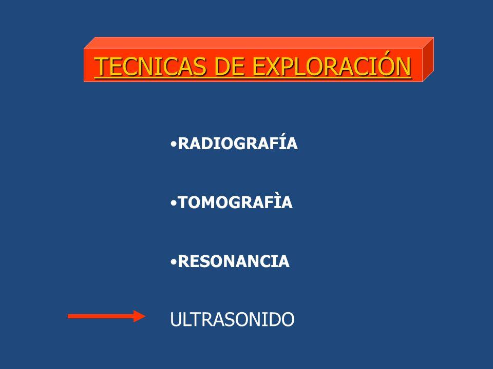 TECNICAS DE EXPLORACIÓN RADIOGRAFÍA TOMOGRAFÌA RESONANCIA ULTRASONIDO