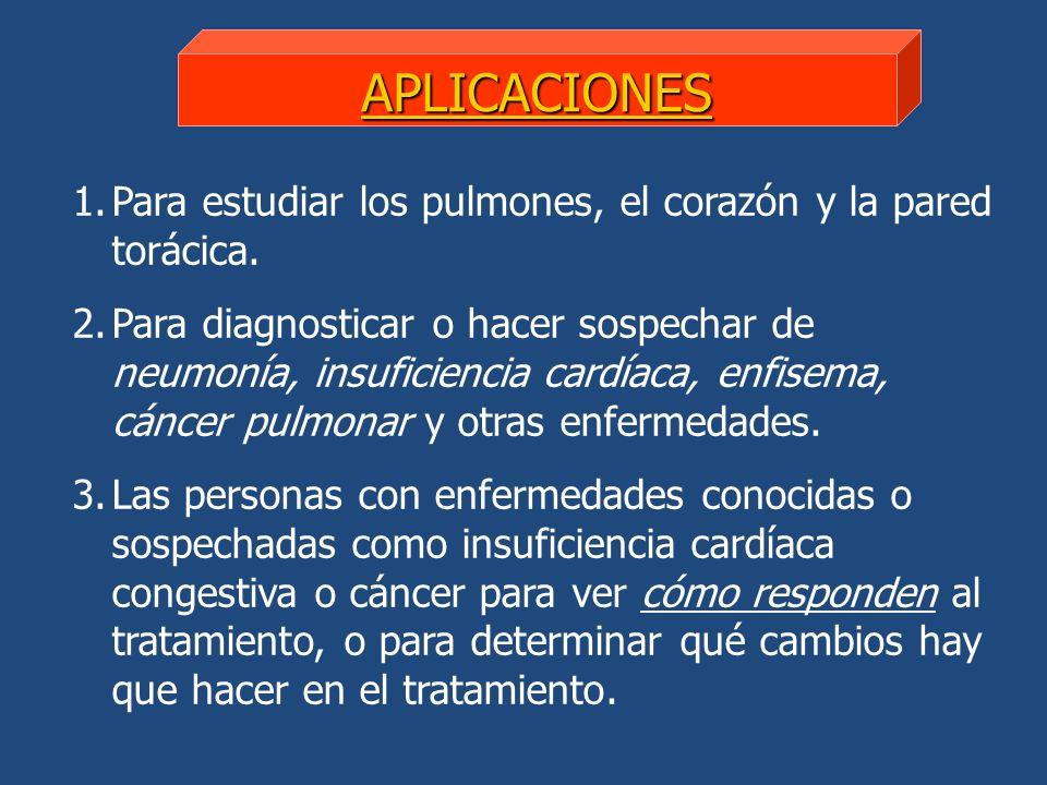 APLICACIONES 1.Para estudiar los pulmones, el corazón y la pared torácica. 2.Para diagnosticar o hacer sospechar de neumonía, insuficiencia cardíaca,