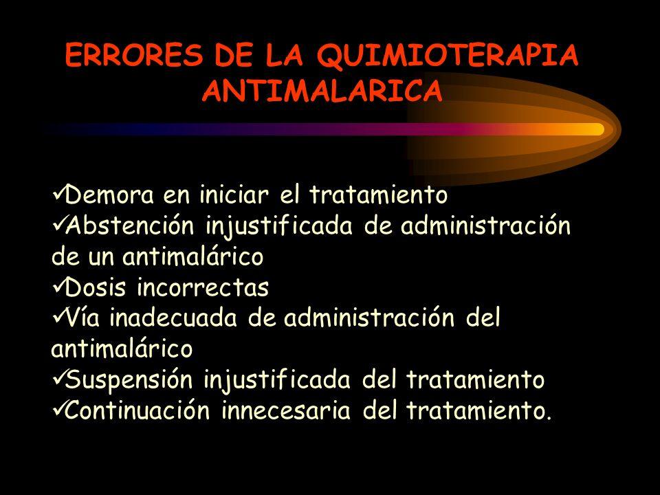 ERRORES DE LA QUIMIOTERAPIA ANTIMALARICA Demora en iniciar el tratamiento Abstención injustificada de administración de un antimalárico Dosis incorrec