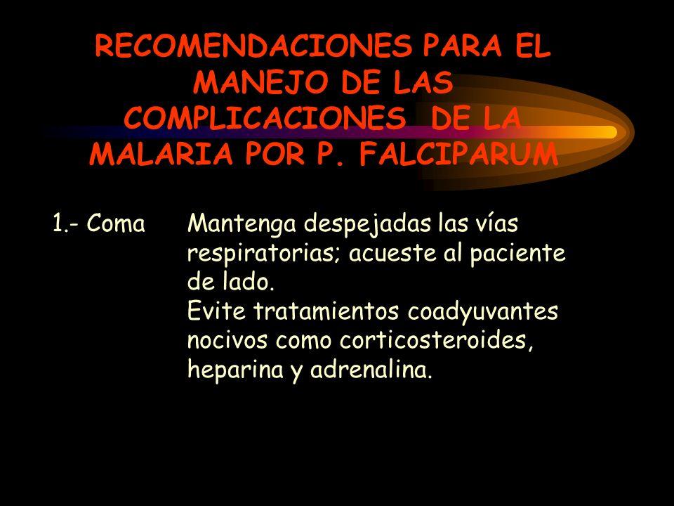 RECOMENDACIONES PARA EL MANEJO DE LAS COMPLICACIONES DE LA MALARIA POR P. FALCIPARUM 1.- Coma Mantenga despejadas las vías respiratorias; acueste al p
