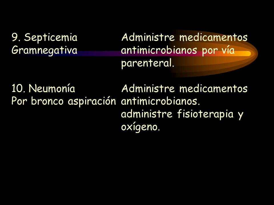 9. SepticemiaAdministre medicamentos Gramnegativaantimicrobianos por vía parenteral. 10. NeumoníaAdministre medicamentos Por bronco aspiraciónantimicr