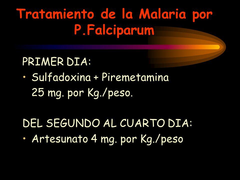Tratamiento de la Malaria por P.Falciparum PRIMER DIA: Sulfadoxina + Piremetamina 25 mg. por Kg./peso. DEL SEGUNDO AL CUARTO DIA: Artesunato 4 mg. por