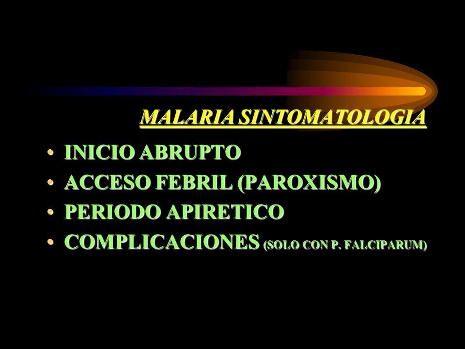 MALARIA SINTOMATOLOGIA INICIO ABRUPTOINICIO ABRUPTO ACCESO FEBRIL (PAROXISMO)ACCESO FEBRIL (PAROXISMO) PERIODO APIRETICOPERIODO APIRETICO COMPLICACION