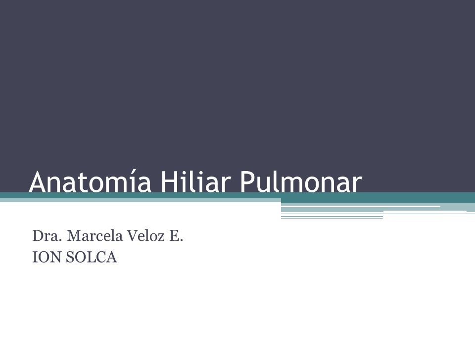 Anatomía Hiliar Pulmonar Dra. Marcela Veloz E. ION SOLCA