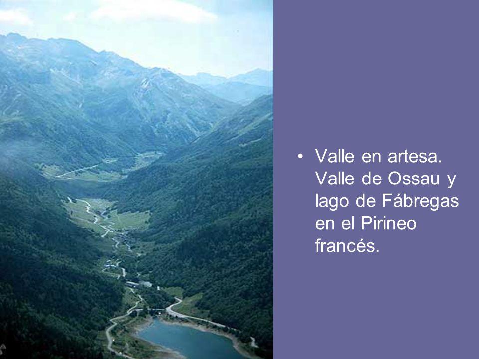 Valle en artesa. Valle de Ossau y lago de Fábregas en el Pirineo francés.