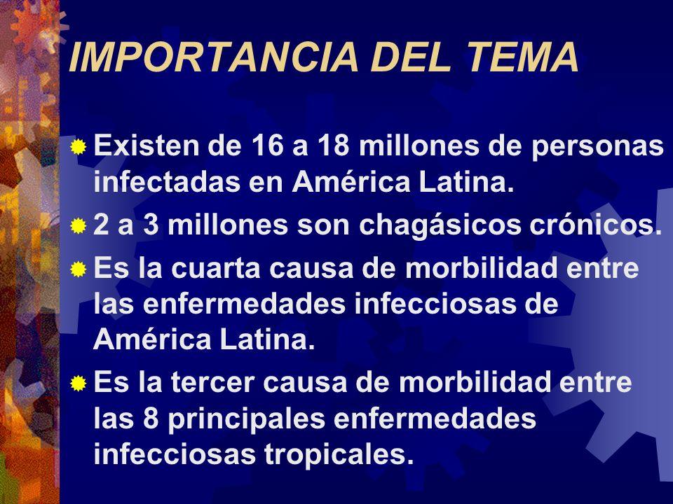IMPORTANCIA DEL TEMA Existen de 16 a 18 millones de personas infectadas en América Latina. 2 a 3 millones son chagásicos crónicos. Es la cuarta causa