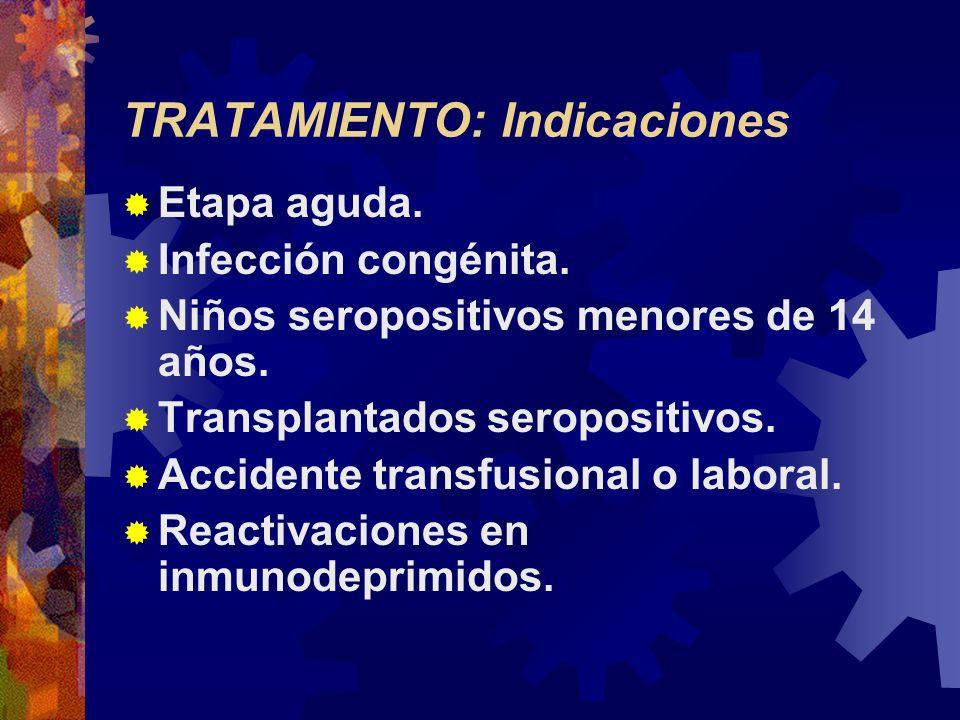 TRATAMIENTO: Indicaciones Etapa aguda. Infección congénita. Niños seropositivos menores de 14 años. Transplantados seropositivos. Accidente transfusio