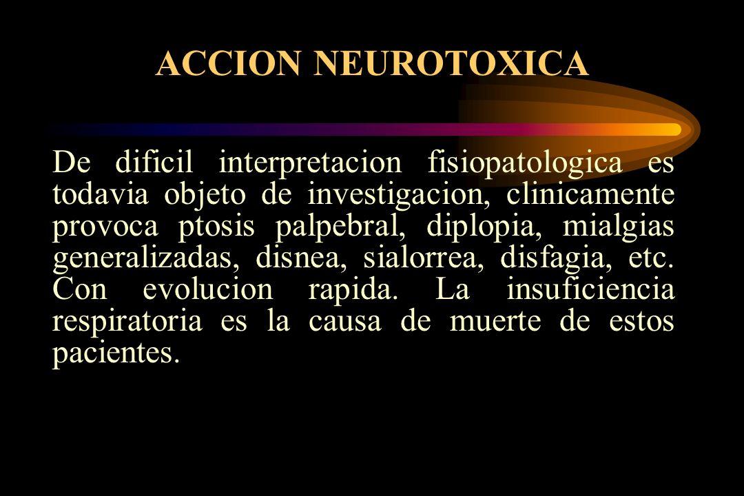 ACCION NEUROTOXICA De dificil interpretacion fisiopatologica es todavia objeto de investigacion, clinicamente provoca ptosis palpebral, diplopia, mial