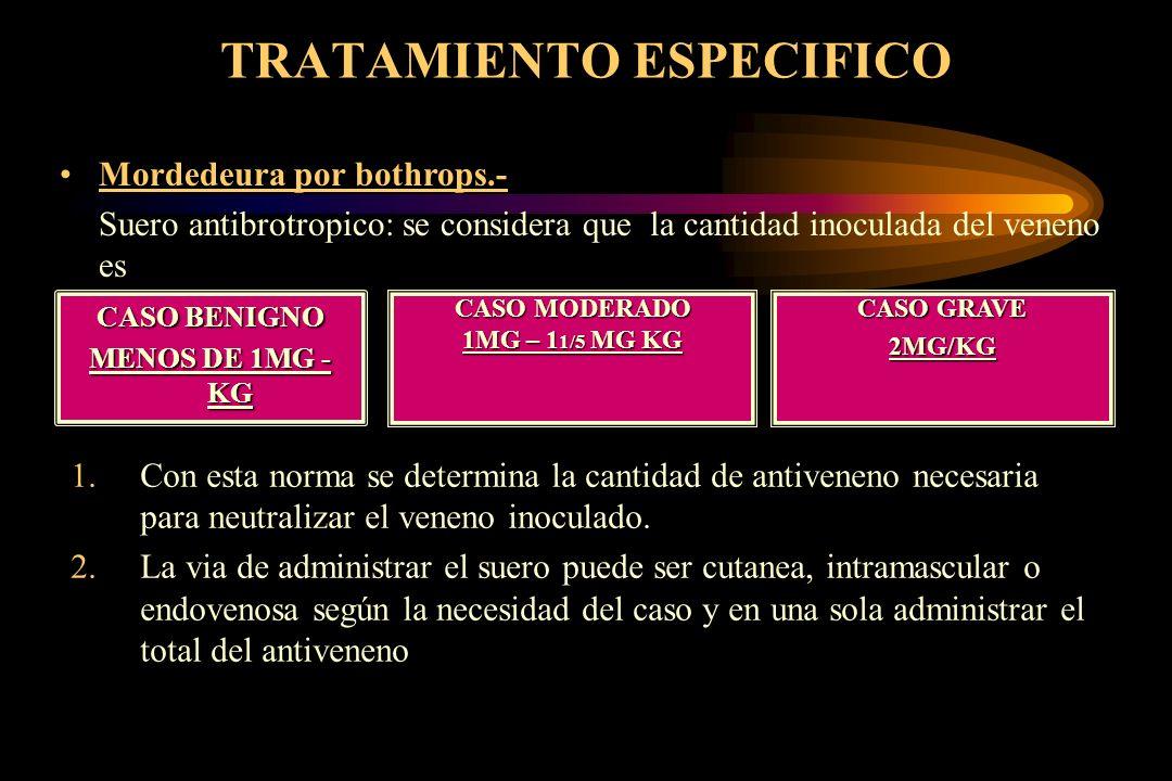 TRATAMIENTO ESPECIFICO CASO BENIGNO MENOS DE 1MG - KG Mordedeura por bothrops.- Suero antibrotropico: se considera que la cantidad inoculada del venen
