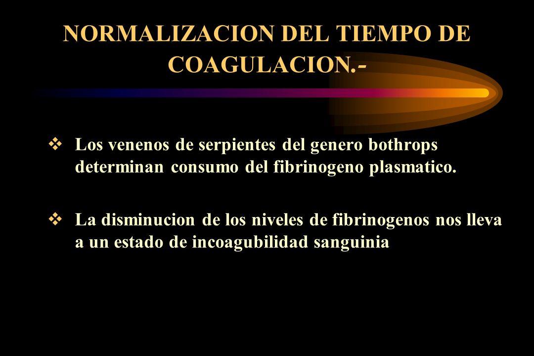 NORMALIZACION DEL TIEMPO DE COAGULACION.- Los venenos de serpientes del genero bothrops determinan consumo del fibrinogeno plasmatico. La disminucion