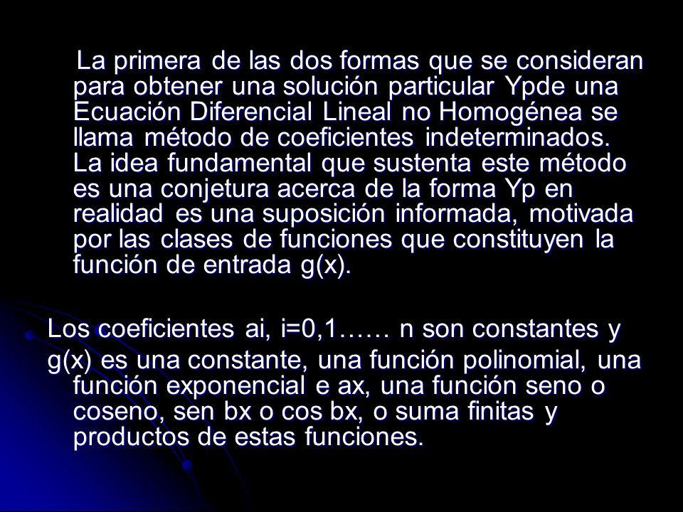 Ejemplo g (x)=10, g(x)=x2-5x, g(x)=15x-6+8e-x G(x)=sen3x-5xcos2x, g(x)= x ex sen x+(3x2-1)e-4x Es decir g(x) es una combinación lineal de funciones de la clase: P(x)= an Xn+an-1 Xn-1+…+a1X+a0, P(x) eax, P(x) eax sen Bx y P(x) eax cos Bx, Donde n es un numero entero no negativo y a y b son números reales.