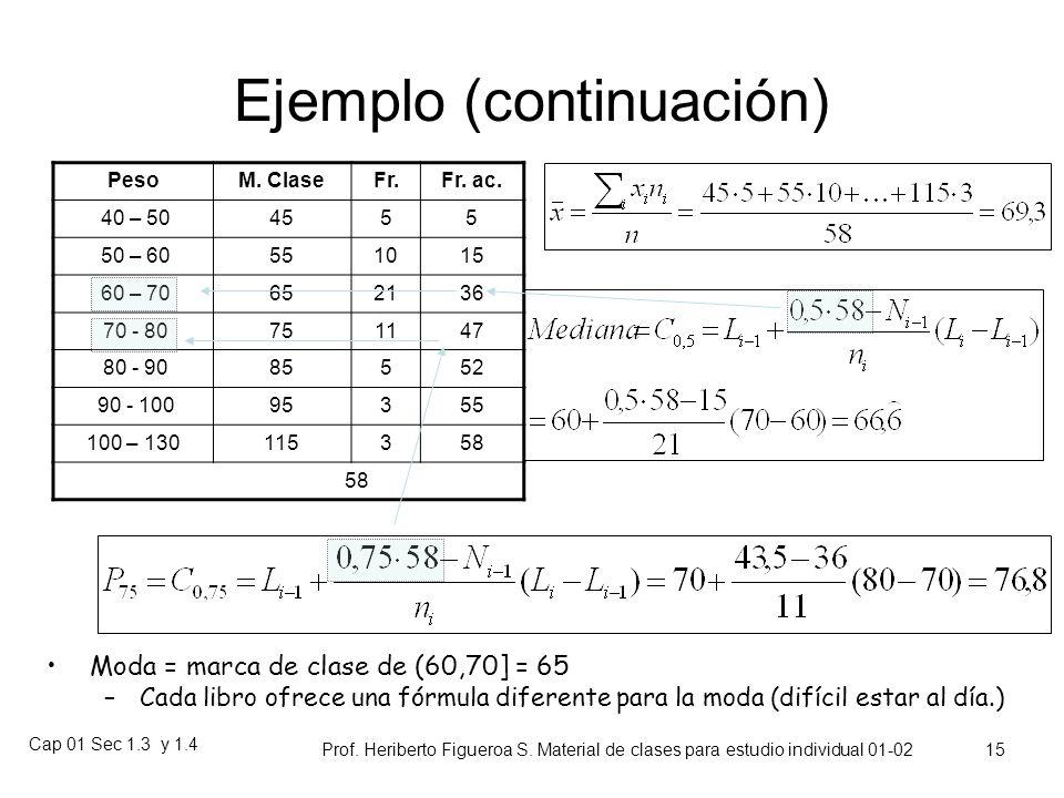 Cap 01 Sec 1.3 y 1.4 Prof. Heriberto Figueroa S. Material de clases para estudio individual 01-02 14 Ejemplo con variables continuas PesoM. Clase frec