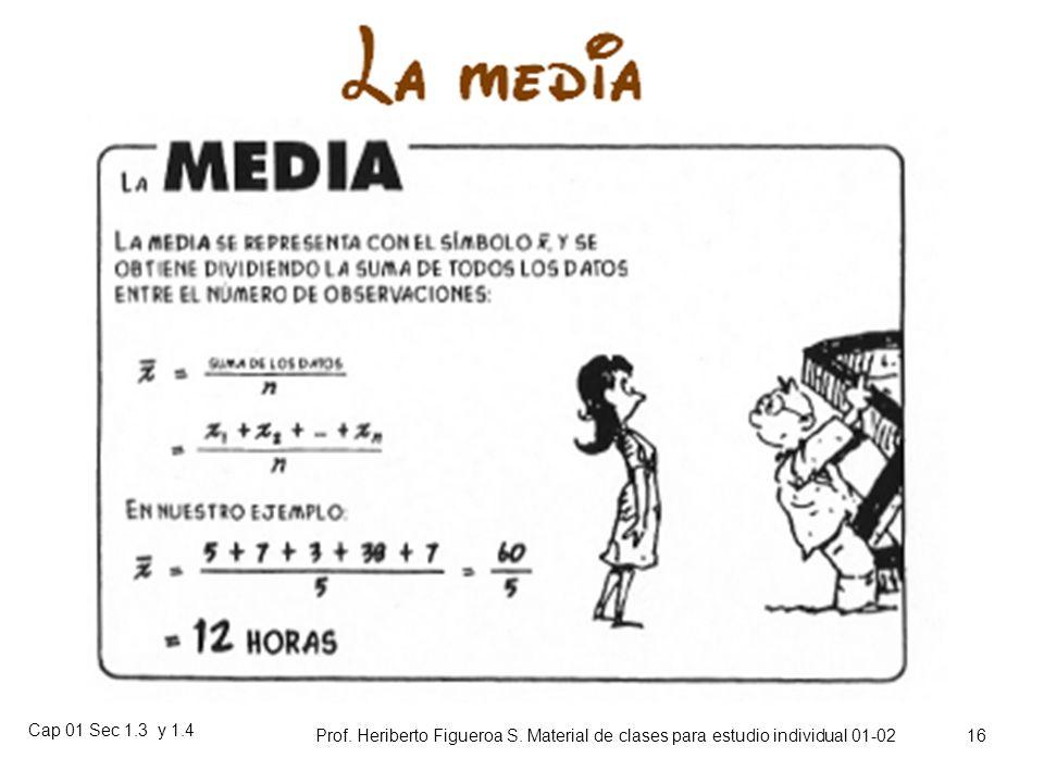 Cap 01 Sec 1.3 y 1.4 Prof. Heriberto Figueroa S. Material de clases para estudio individual 01-02 15 Ejemplo (continuación) PesoM. ClaseFr.Fr. ac. 40